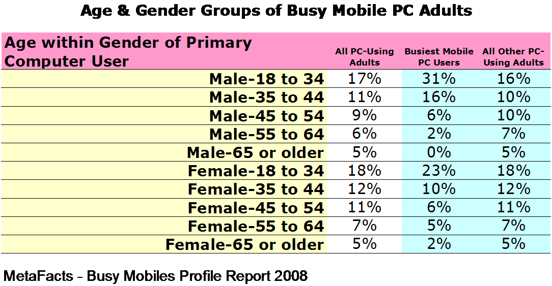 Age & Gender Groups of Busy Mobile PC Adults - Busiest Mobiles Profile Report